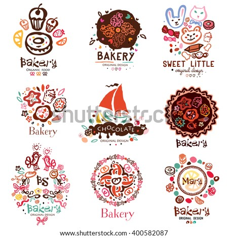Logo of the bakery, symbols. Illustration of a confectionery. Sweet cakes candy cakes design elements. Logo handmade on the topic of sweet dessert and cakes. - stock vector