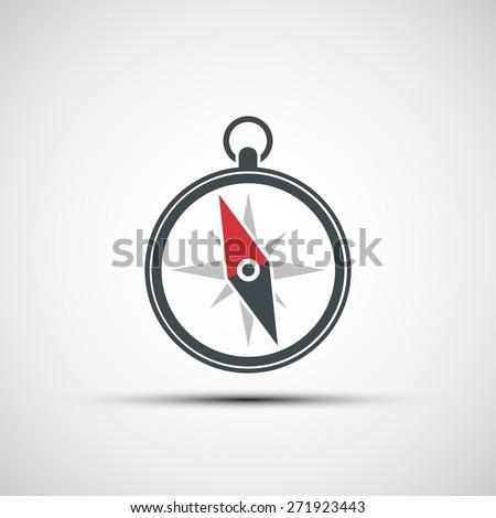 Logo of the compass arrow. Vector image. - stock vector