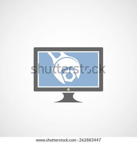 Logo of the monitor with a wrench. Vector image. - stock vector
