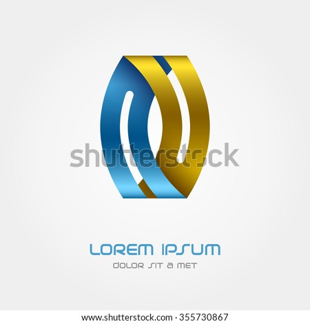 Logo ribbon, Business abstract vector design template, Hi tech looped infinity logotype, Vector Eps 10 - stock vector