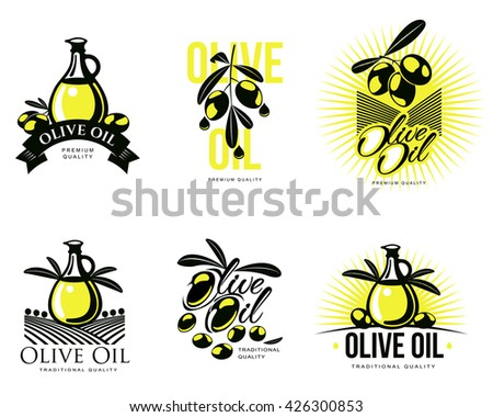Logo Set about olive oil, vector illustration logos isolated on a white background, simple logos with olives and olive oil, black and yellow color design symbols, logo olive, olive oil logotype bottle - stock vector