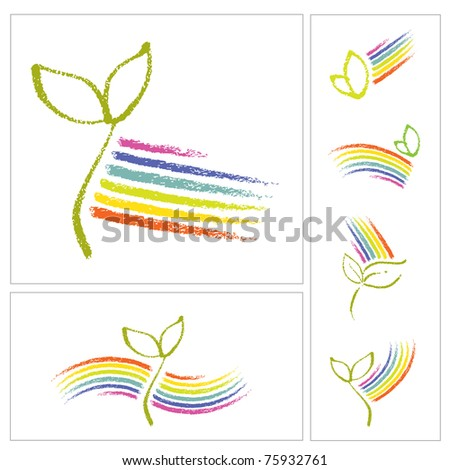 Logo set - Ecology motive, little plant seedling and a rainbow - stock vector
