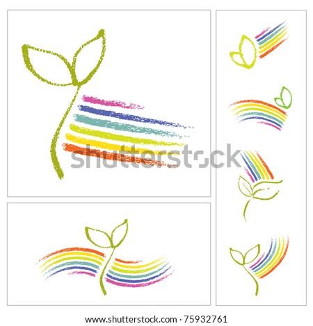Logo set - Ecology motive, little plant seedling and a rainbow - stock vector