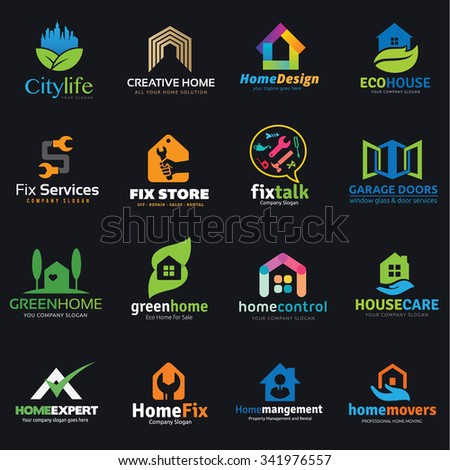 Logo set,Logo collection,home logo,house logo,real estate logo collection,roof,marketing logo vector logo template - stock vector