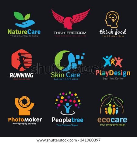 Logo set,Logo Collection,People logo,sport logo,idea logo,creative logo,human logo,charity logo,beauty logo Vector logo template. - stock vector