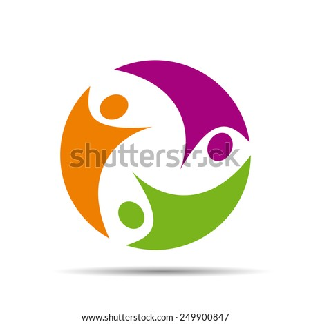 Logo teamwork on white background # Vector - stock vector