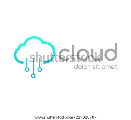 Logo template cloud service computing, download, upload, networking, wireless, database, transfer, share, brand, server, branding,company, logotype, identity, corporate. clean and modern style design - stock vector