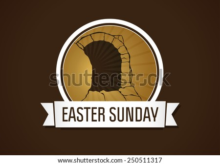 Logo template for Easter card in the form of stone rolled away from the cave with the outgoing light. Easter sunday holy week. - stock vector