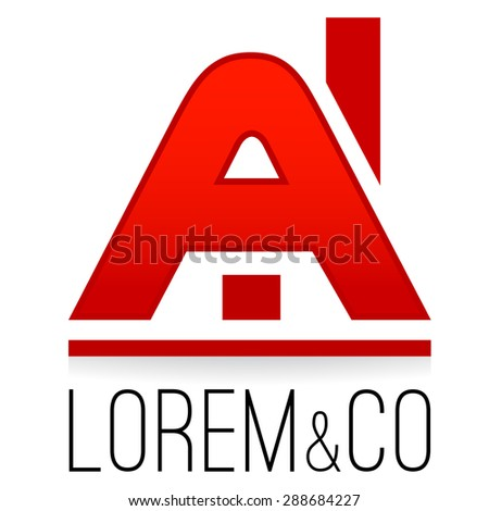 Logo template, house stylized A letter, construction business, rental, real estate sales company logotype - stock vector