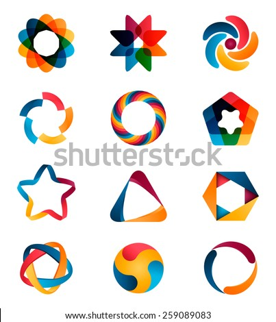 Logo templates set. Abstract circle creative signs and symbols. Circles, star, pentagon, hexagon and other design elements. - stock vector