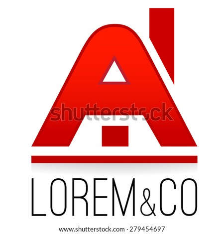 Logo templeate, house stylized A letter, construction business, rental, real estate sales company logotype - stock vector