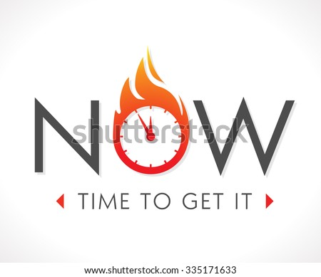 Logo - the time is now - stock vector