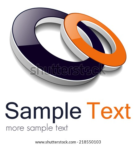 Logo, two circles orange and black, vector 3D design. - stock vector
