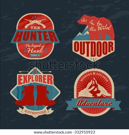 logo vintage outdoor theme, vector sign & symbol - stock vector