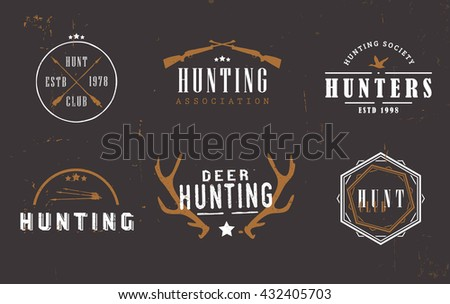 Logos for hunting business companies, hunting clubs, hunters associations and societies. Logos on dark background. - stock vector