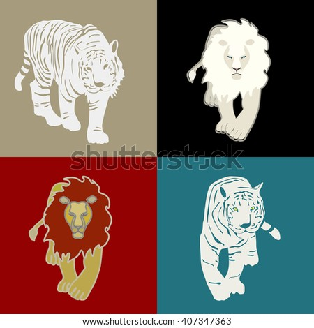 Logos: white lion, yellow lion, white tigers, background (black, red, yellow, blue) - stock vector