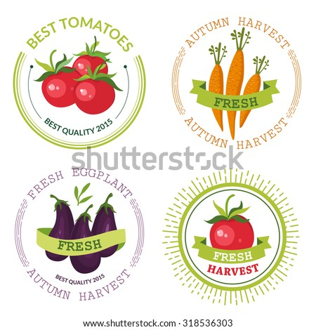logos with vegetables harvest organic farm labels on the