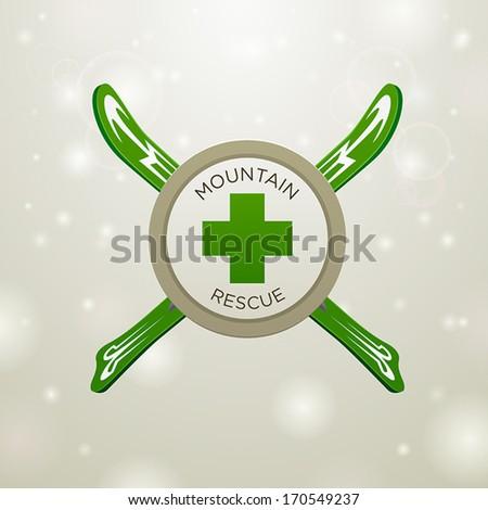 Logotype mountain rescue on white snow background - stock vector