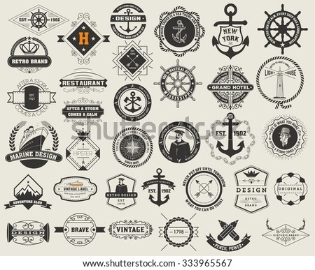 Logotypes set and Vintage Insignias. Vector design elements, logos, identity, objects, labels,and badges. - stock vector