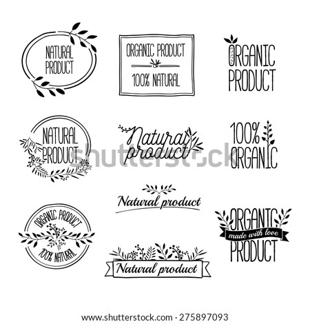 Logotypes set. Badges, labels,ribbons,plants elements,wreaths and laurels branches. Organic, bio, ecology, eco natural design template. Hand drawing. Vintage vector. - stock vector