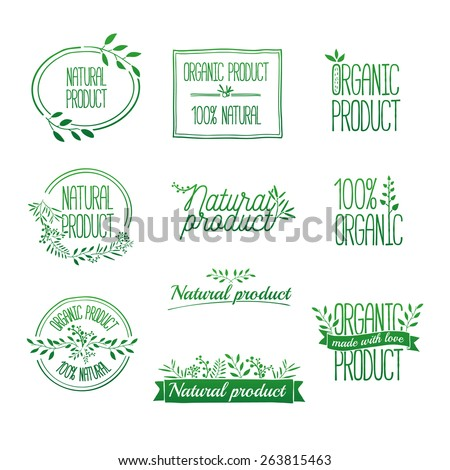 Logotypes set. Badges, labels,ribbons,plants elements,wreaths and laurels green branches.Organic, bio, ecology, eco natural design template. Hand drawing. Vintage vector, green colors - stock vector