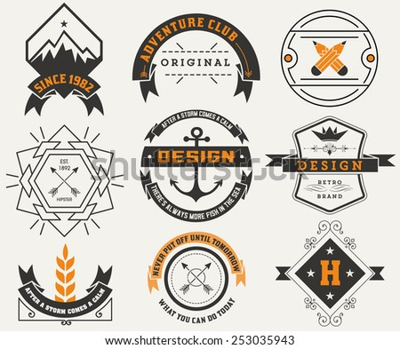 Logotypes set / Vintage Insignias. Vector design elements, logos, identity, objects, labels,and badges. - stock vector