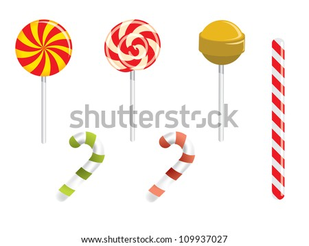 Lollipop and different candies - stock vector