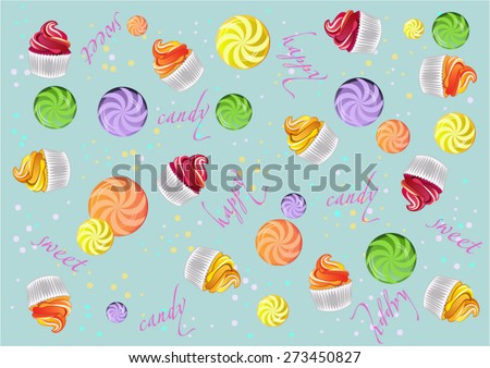 Lollipops, candy, cake and sweets background. Vector illustration - stock vector