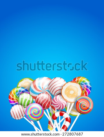 Lollipops, candys and sweets   background. Vector illustration, a4-a5 standard proportion.  - stock vector