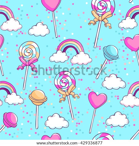 Lollipops, rainbow, clouds and confetti. Sweet candies seamless vector pattern. - stock vector