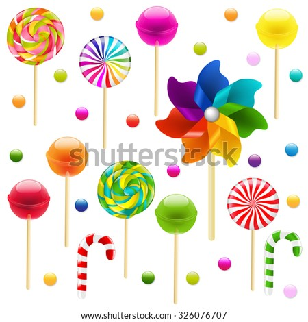 Lollypop Big Set With Pinwheel With Gradient Mesh, Vector Illustration - stock vector
