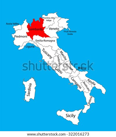 Lombardy, Lombardia, Italy, vector map illustration isolated on background. - stock vector
