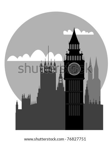 London - Big Ben - vector - stock vector
