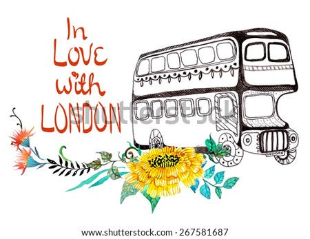 London bus with watercolor flowers over white - stock vector