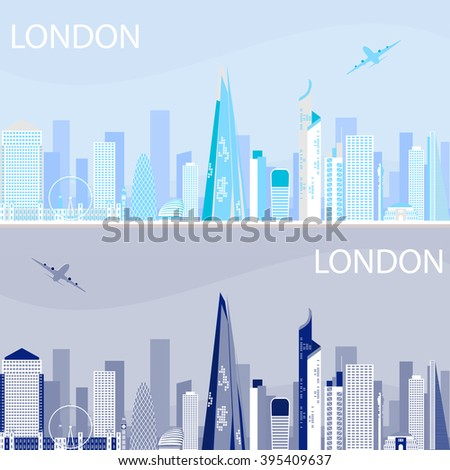London - capital city of the United Kingdom of Great Britain and Northern Ireland. One of the largest and most interesting cities in Europe. City views day and night.  tallest buildings in London. - stock vector