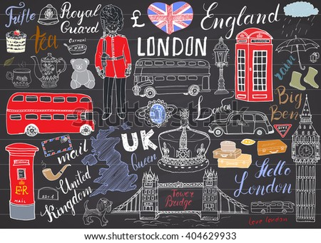 London city doodles elements collection. Hand drawn set with, tower bridge, crown, big ben, royal guard, red bus and cab, UK map and flag, tea pot, lettering, vector illustration isolated. - stock vector