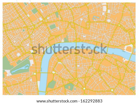 london city map - stock vector