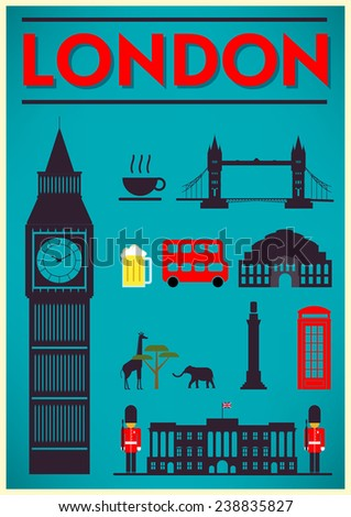 London City Poster Design with Symbols of the London - stock vector