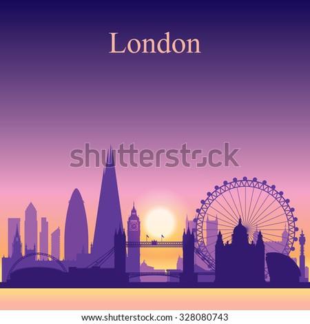 London city skyline silhouette on sunset background, vector illustration - stock vector