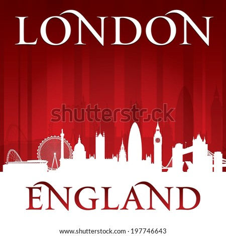 London England city skyline silhouette. Vector illustration - stock vector