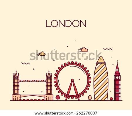 London (England) city skyline vector background. Trendy illustration, line art style.  - stock vector