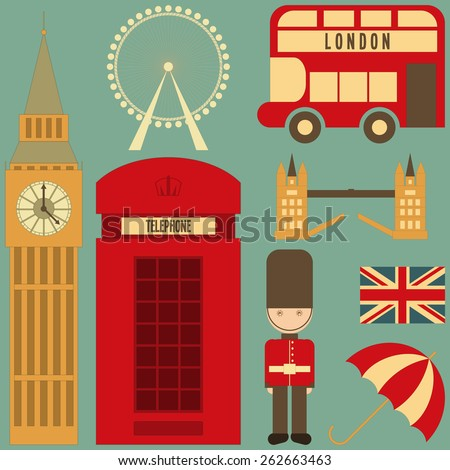 London. English Icons Set with British theme. Vector Illustration. - stock vector