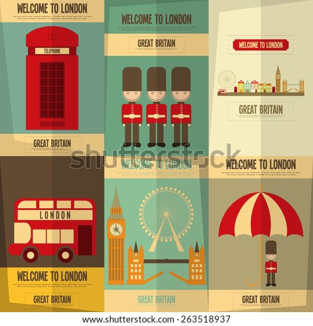 London. English Posters Collection with British theme. Vector Illustration. - stock vector