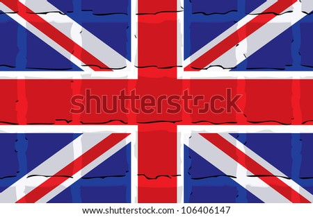 London flag background with transparent cubes - stock vector