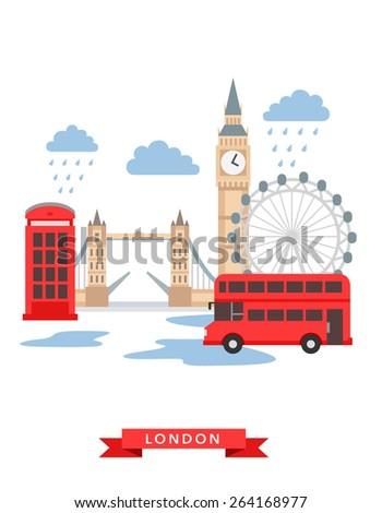 London flat background vector - stock vector