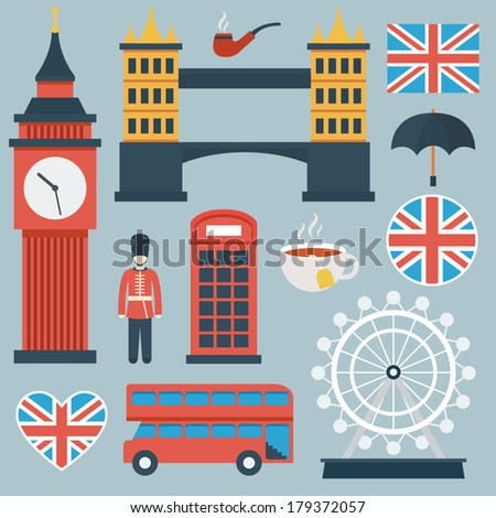 London flat icon set - stock vector