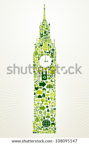 London go green. Eco friendly icon set in Big Ben clock building shape illustration background. Vector file layered for easy manipulation and custom coloring. - stock vector