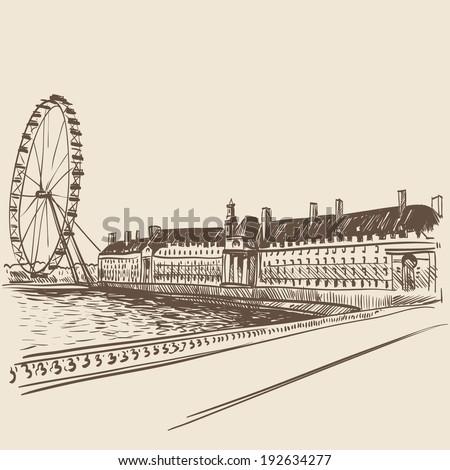 London hand drawn, vector illustration - stock vector