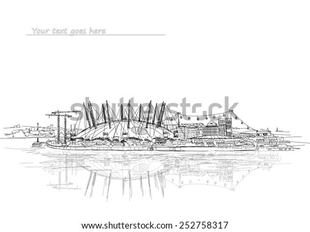 London, performance arena on the river Thames, sketch collection - stock vector