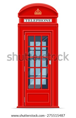 London red phone booth vector illustration isolated on white background - stock vector